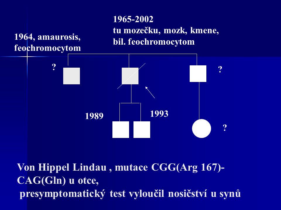 Von Hippel Lindau , mutace CGG(Arg 167)-CAG(Gln) u otce,