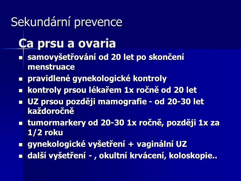 Sekundární prevence Ca prsu a ovaria