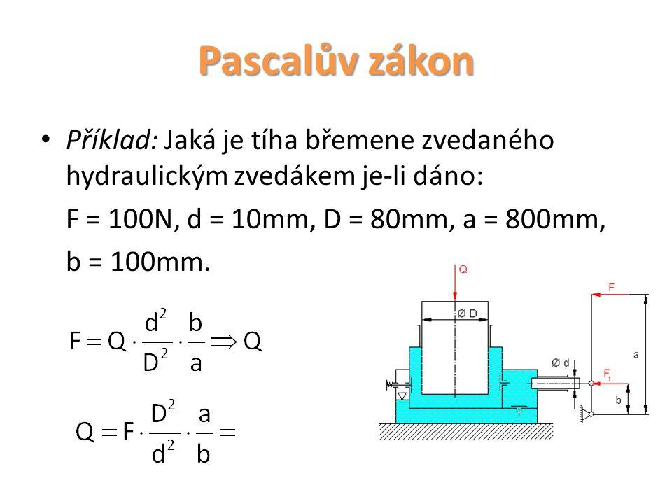 Pascalův zákon Příklad: Jaká je tíha břemene zvedaného hydraulickým zvedákem je-li dáno: F = 100N, d = 10mm, D = 80mm, a = 800mm,