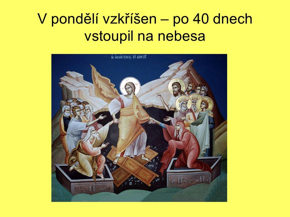 V pondělí vzkříšen – po 40 dnech vstoupil na nebesa