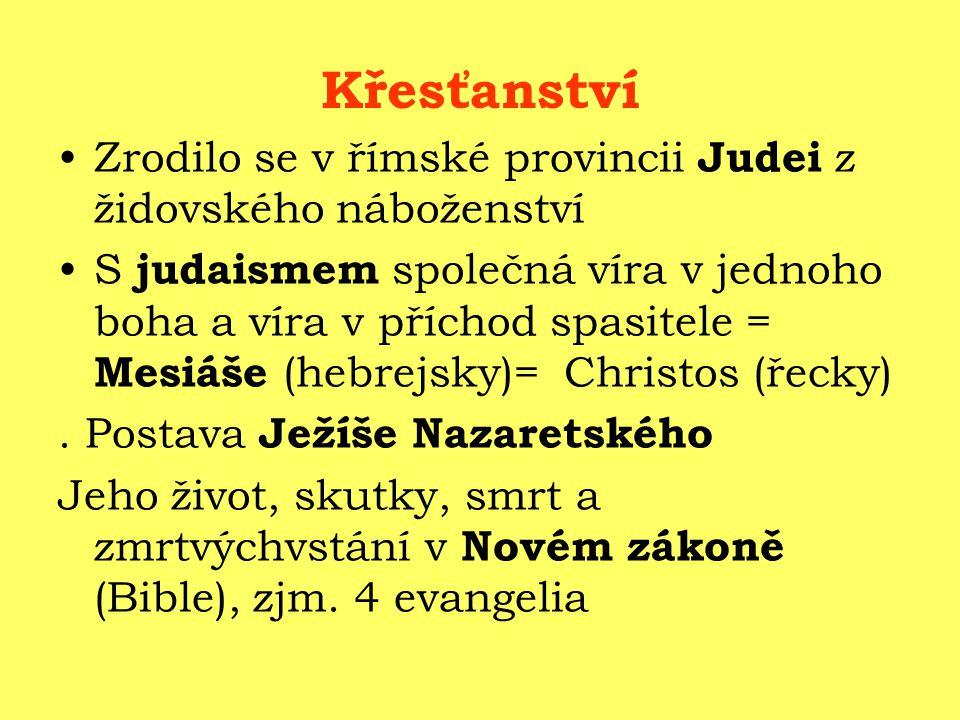 Křesťanství Zrodilo se v římské provincii Judei z židovského náboženství.