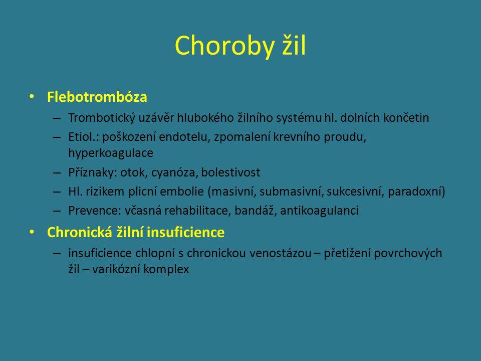 Choroby žil Flebotrombóza Chronická žilní insuficience