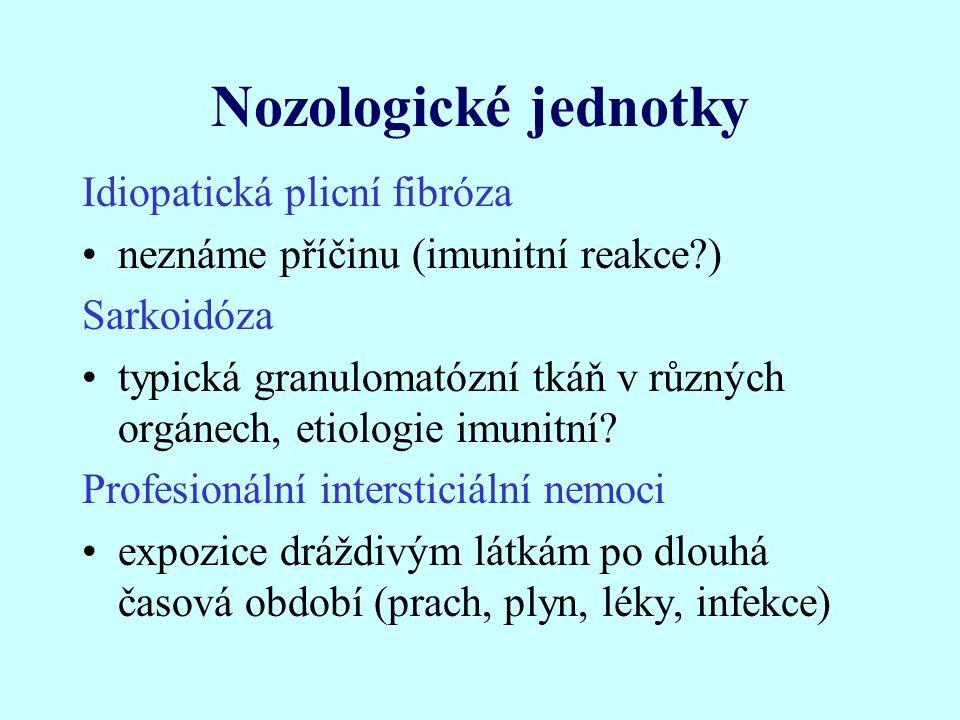 Nozologické jednotky Idiopatická plicní fibróza