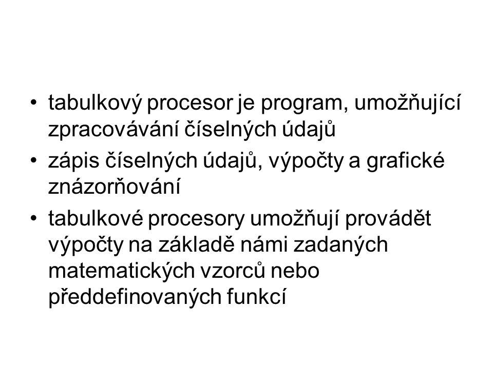tabulkový procesor je program, umožňující zpracovávání číselných údajů