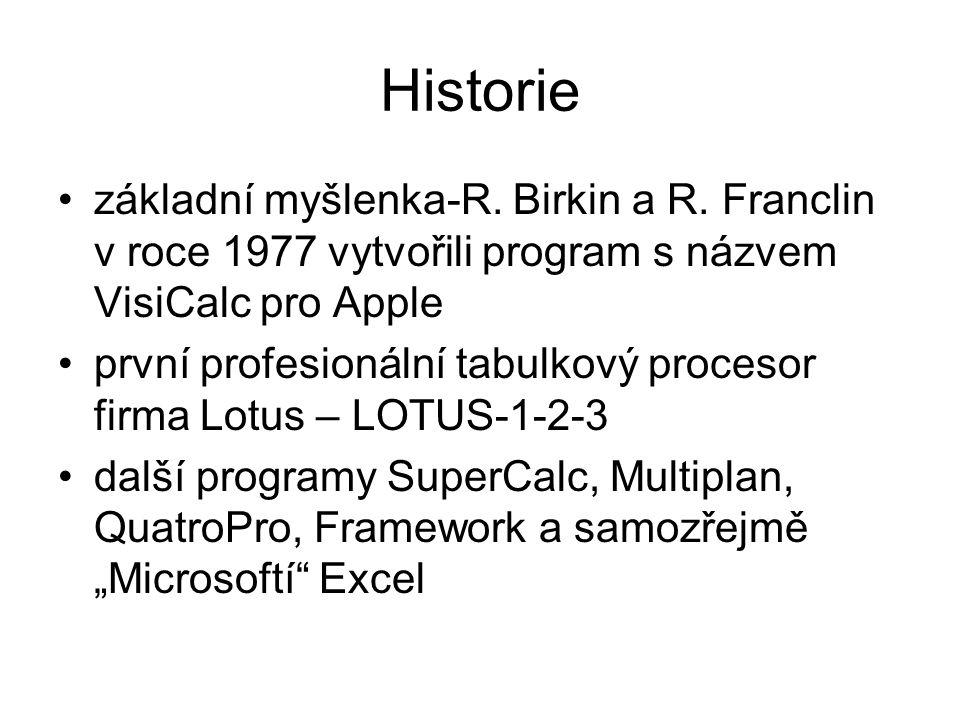 Historie základní myšlenka-R. Birkin a R. Franclin v roce 1977 vytvořili program s názvem VisiCalc pro Apple.