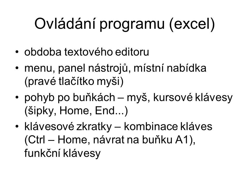Ovládání programu (excel)