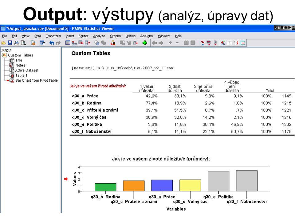 Output: výstupy (analýz, úpravy dat)