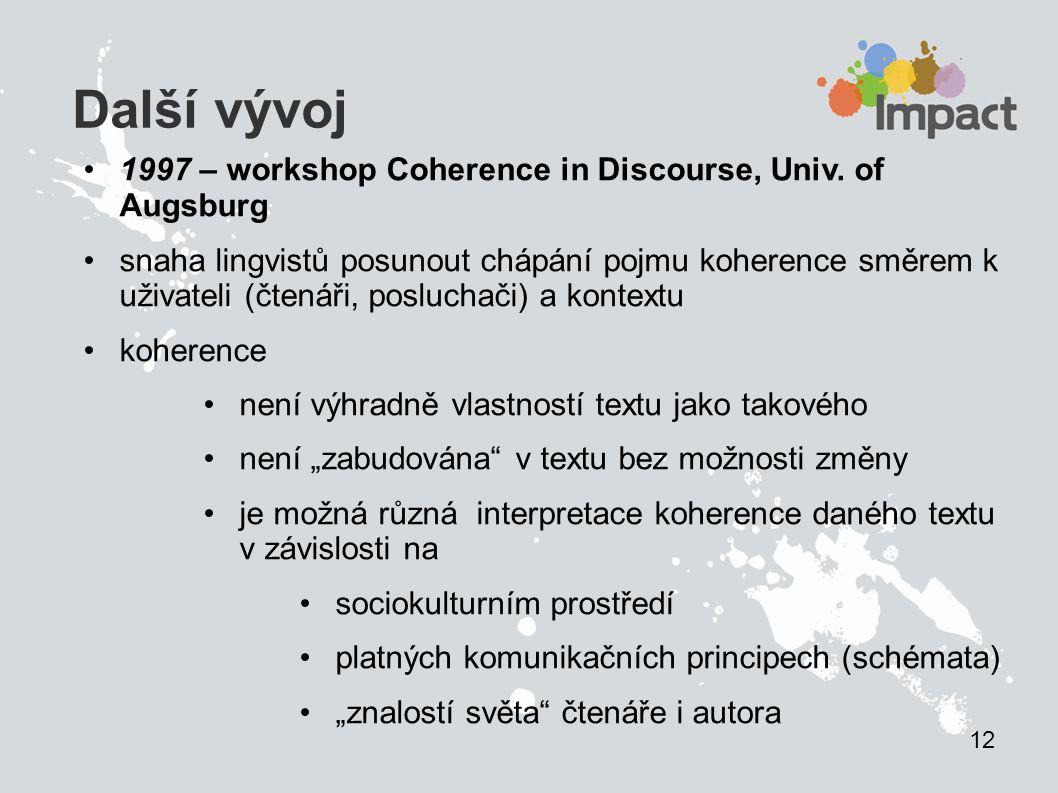 Další vývoj 1997 – workshop Coherence in Discourse, Univ. of Augsburg