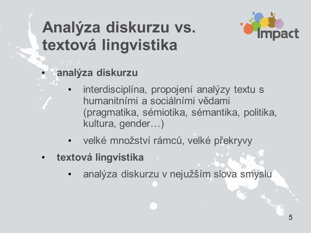 Analýza diskurzu vs. textová lingvistika