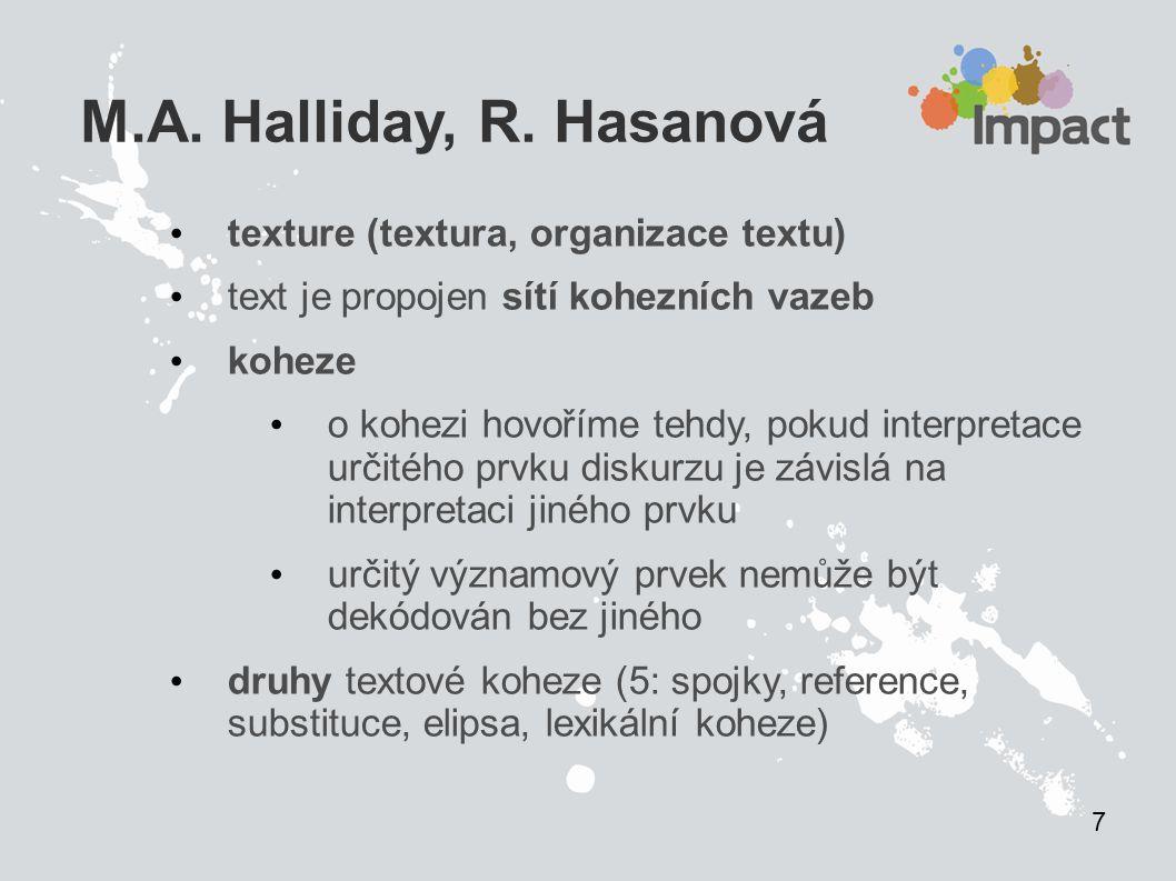 M.A. Halliday, R. Hasanová texture (textura, organizace textu)