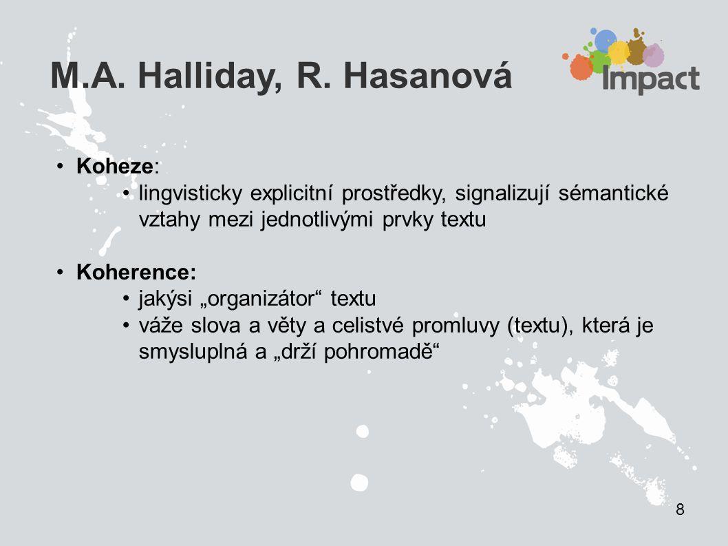 M.A. Halliday, R. Hasanová Koheze:
