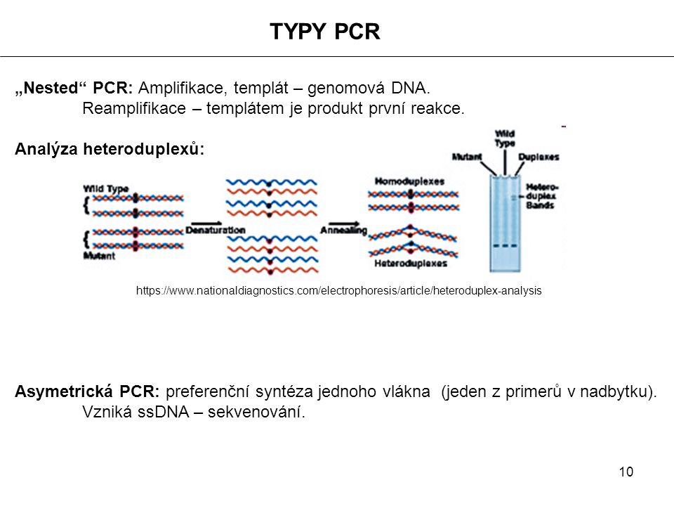"""TYPY PCR """"Nested PCR: Amplifikace, templát – genomová DNA."""