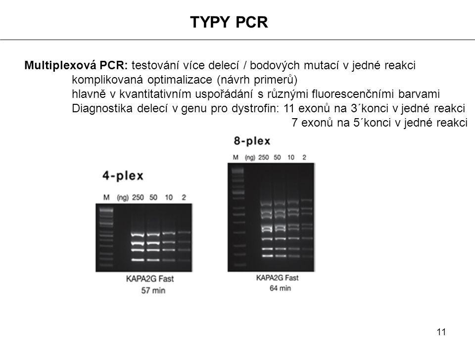 TYPY PCR Multiplexová PCR: testování více delecí / bodových mutací v jedné reakci. komplikovaná optimalizace (návrh primerů)
