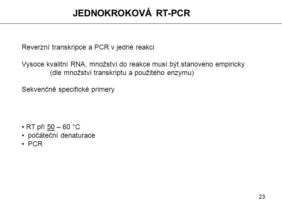 JEDNOKROKOVÁ RT-PCR Reverzní transkripce a PCR v jedné reakci