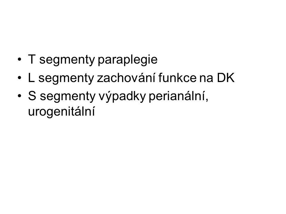 T segmenty paraplegie L segmenty zachování funkce na DK S segmenty výpadky perianální, urogenitální
