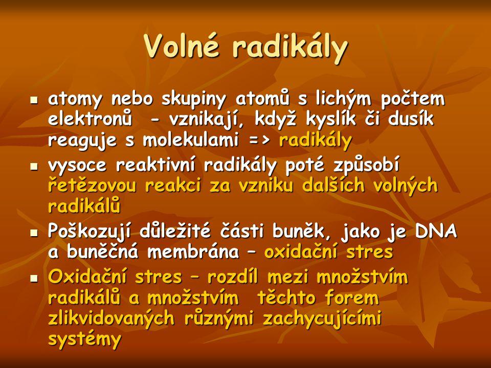 Volné radikály atomy nebo skupiny atomů s lichým počtem elektronů - vznikají, když kyslík či dusík reaguje s molekulami => radikály.