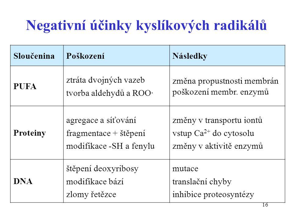 Negativní účinky kyslíkových radikálů