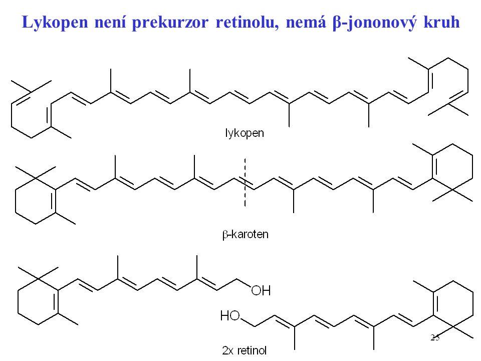 Lykopen není prekurzor retinolu, nemá β-jononový kruh