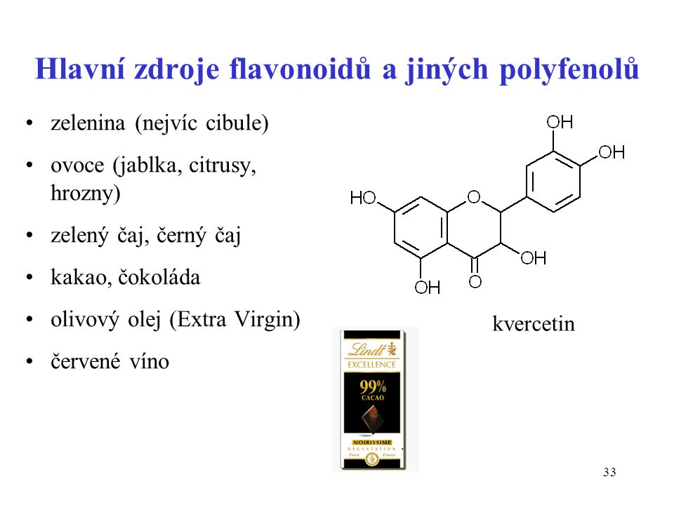 Hlavní zdroje flavonoidů a jiných polyfenolů