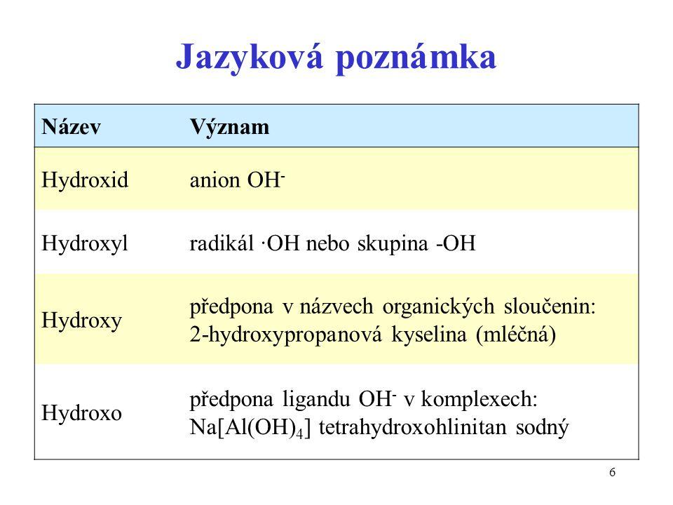 Jazyková poznámka Název Význam Hydroxid anion OH- Hydroxyl