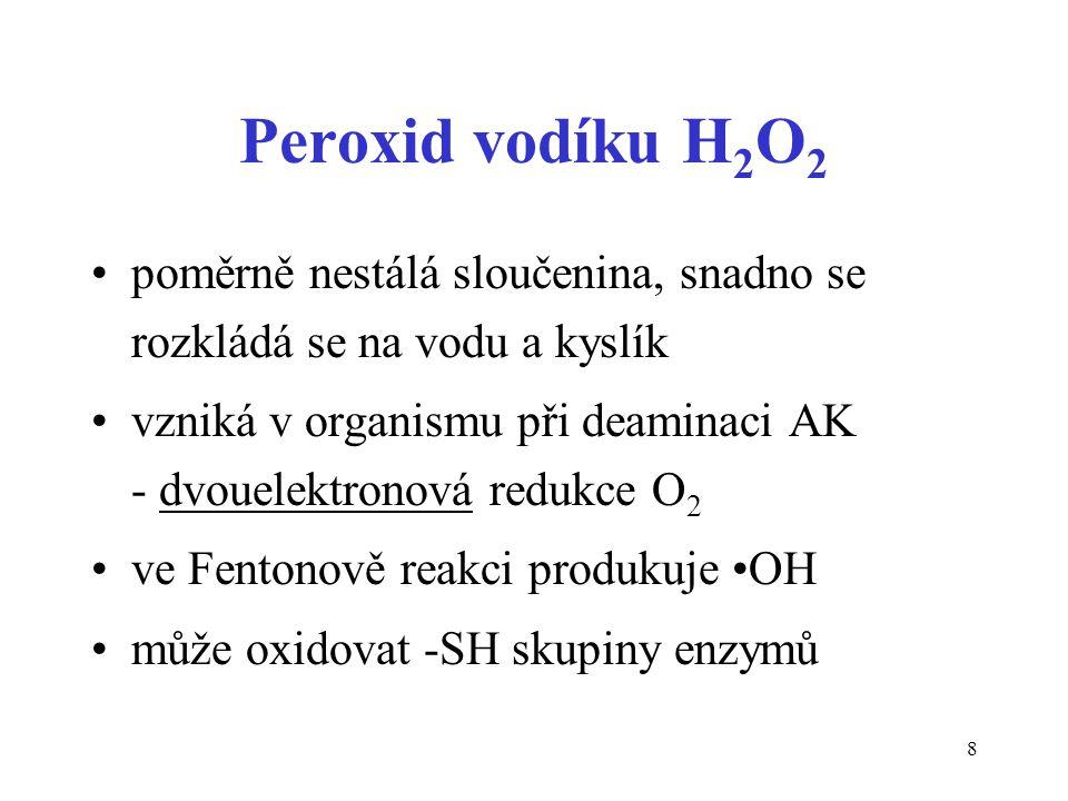 Peroxid vodíku H2O2 poměrně nestálá sloučenina, snadno se rozkládá se na vodu a kyslík.