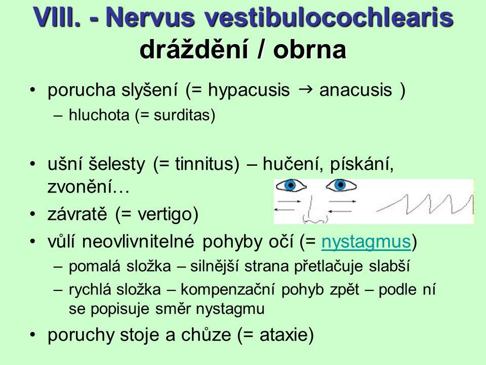 VIII. - Nervus vestibulocochlearis dráždění / obrna