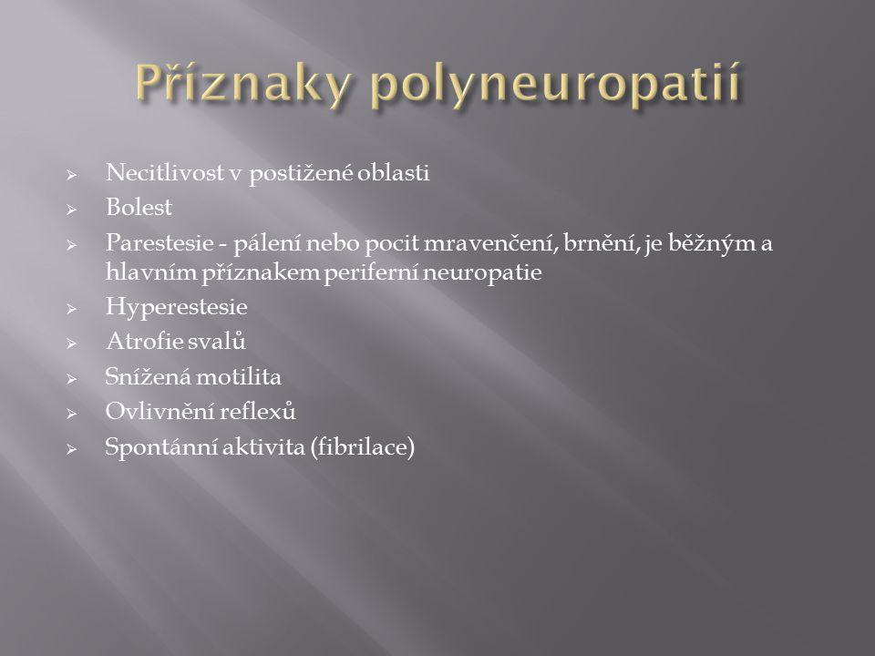 Příznaky polyneuropatií