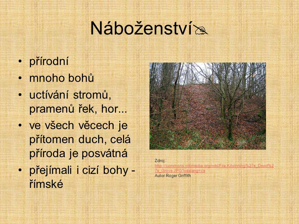 Náboženství přírodní mnoho bohů uctívání stromů, pramenů řek, hor...
