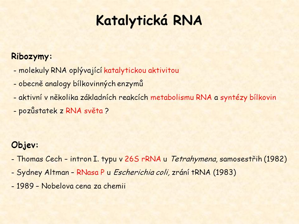 Katalytická RNA Ribozymy: Objev: