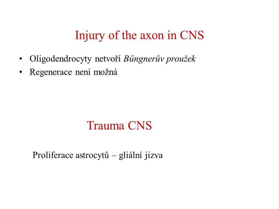 Injury of the axon in CNS