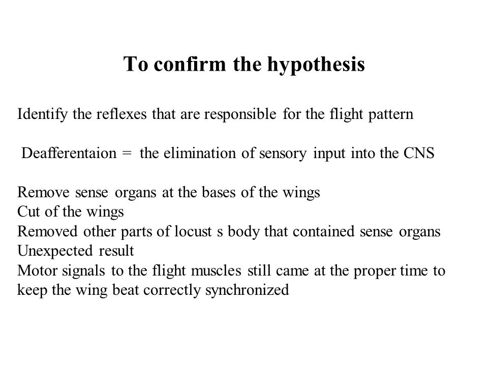To confirm the hypothesis