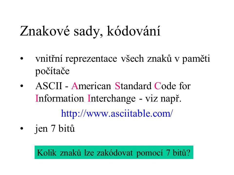 Znakové sady, kódování vnitřní reprezentace všech znaků v paměti počítače. ASCII - American Standard Code for Information Interchange - viz např.