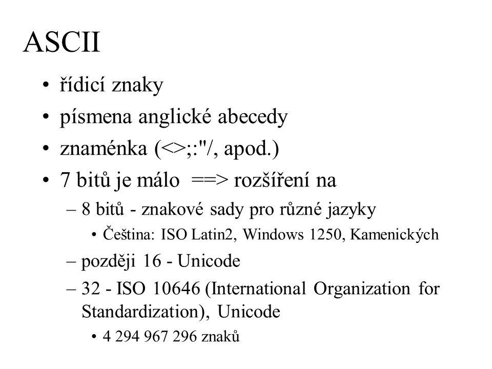 ASCII řídicí znaky písmena anglické abecedy