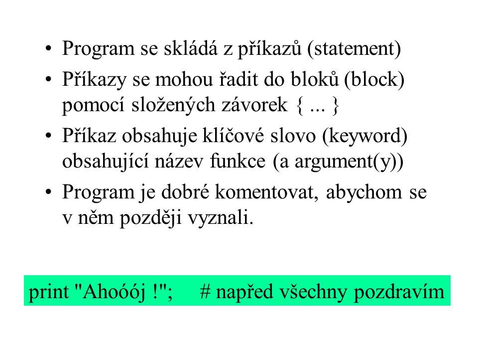 Program se skládá z příkazů (statement)