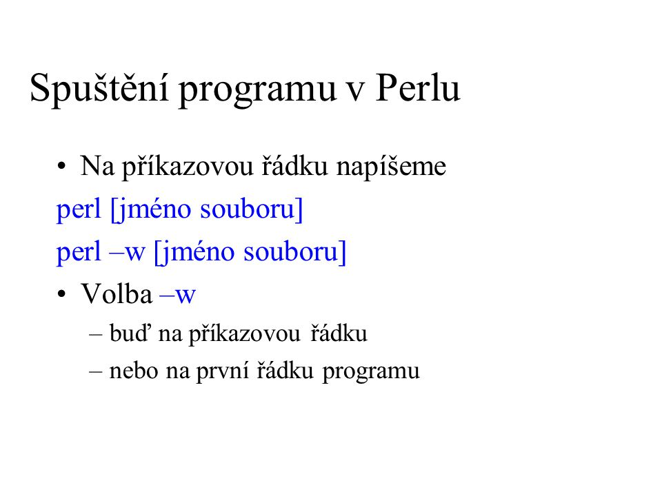 Spuštění programu v Perlu
