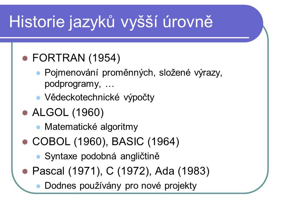 Historie jazyků vyšší úrovně