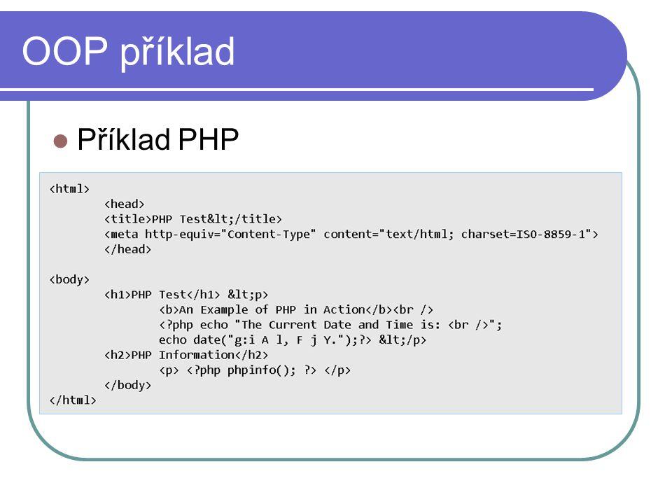 OOP příklad Příklad PHP