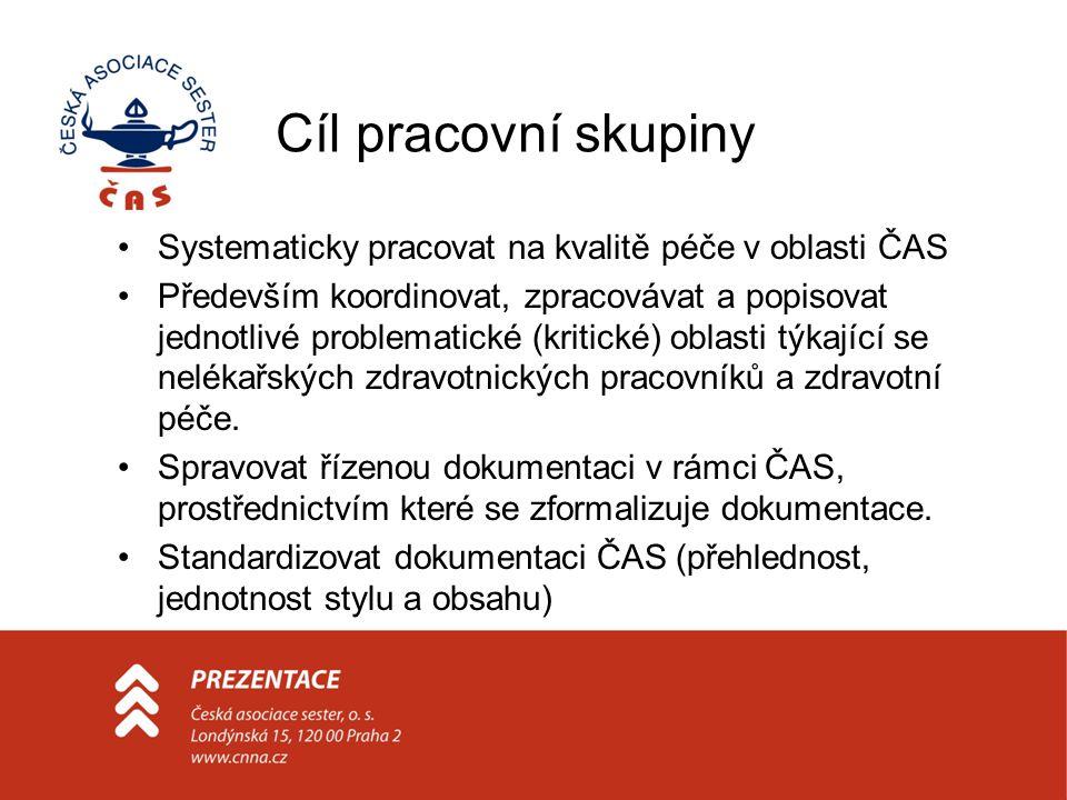Cíl pracovní skupiny Systematicky pracovat na kvalitě péče v oblasti ČAS.