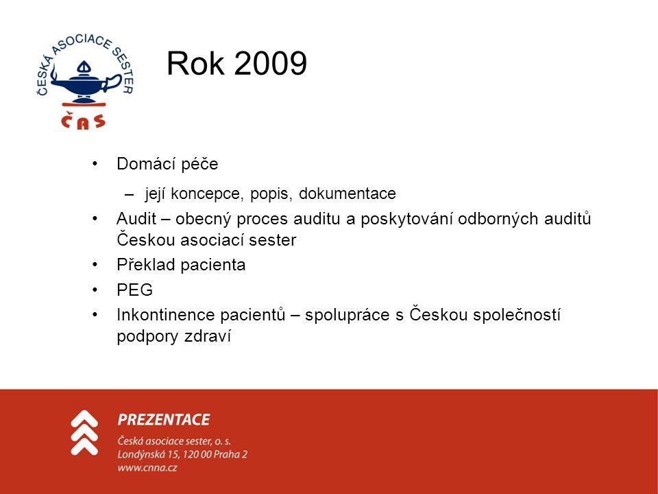 Rok 2009 Domácí péče. její koncepce, popis, dokumentace. Audit – obecný proces auditu a poskytování odborných auditů Českou asociací sester.