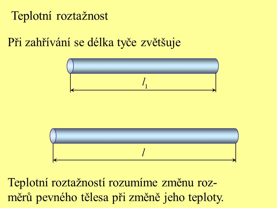 Teplotní roztažnost Při zahřívání se délka tyče zvětšuje