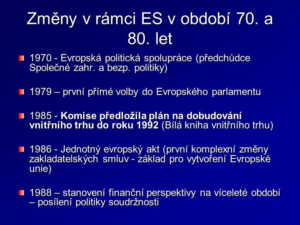 Změny v rámci ES v období 70. a 80. let