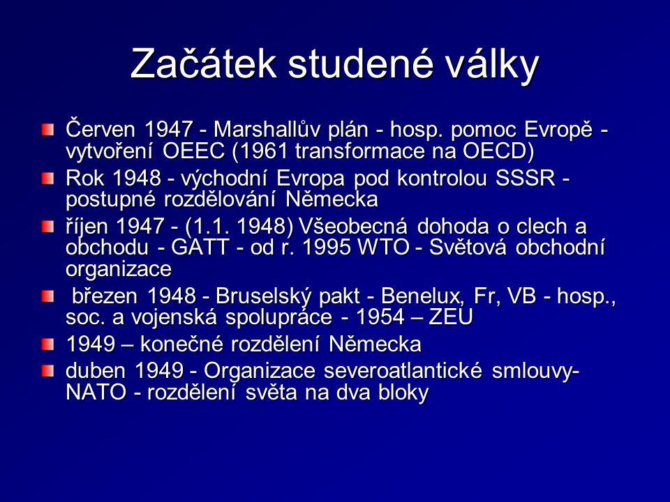 Začátek studené války Červen 1947 - Marshallův plán - hosp. pomoc Evropě - vytvoření OEEC (1961 transformace na OECD)