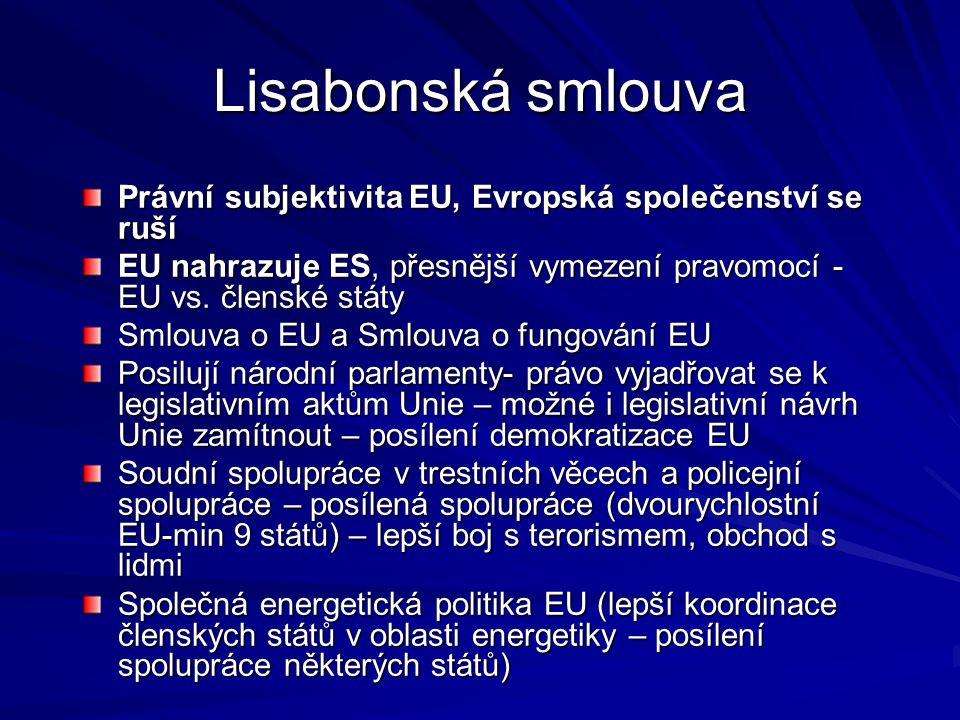 Lisabonská smlouva Právní subjektivita EU, Evropská společenství se ruší. EU nahrazuje ES, přesnější vymezení pravomocí - EU vs. členské státy.