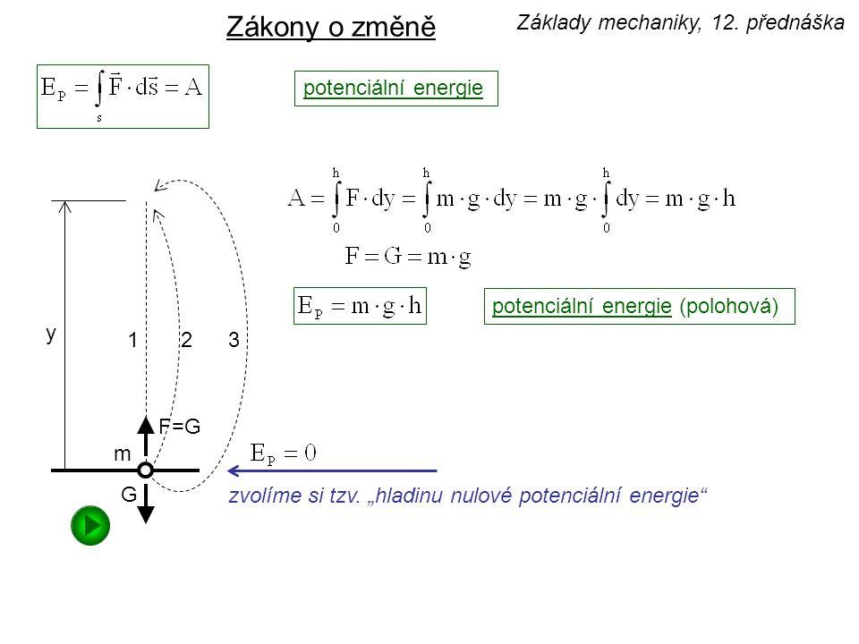 Zákony o změně Základy mechaniky, 12. přednáška potenciální energie