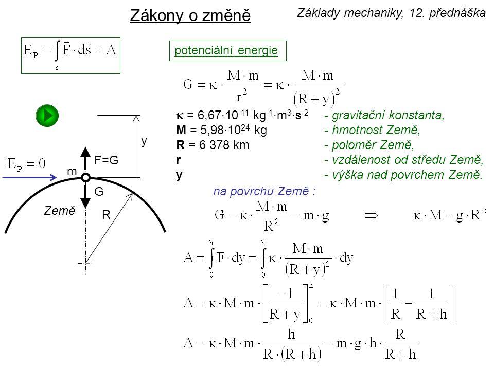 Zákony o změně k = 6,67·10-11 kg-1·m3·s-2 - gravitační konstanta,