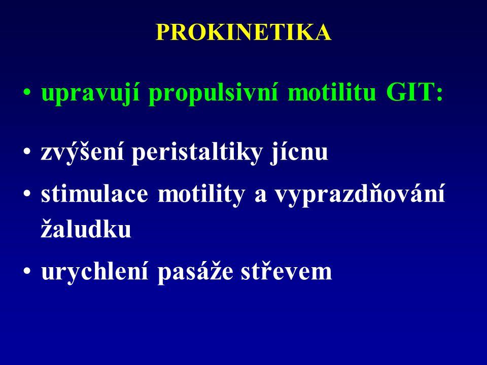 upravují propulsivní motilitu GIT: zvýšení peristaltiky jícnu