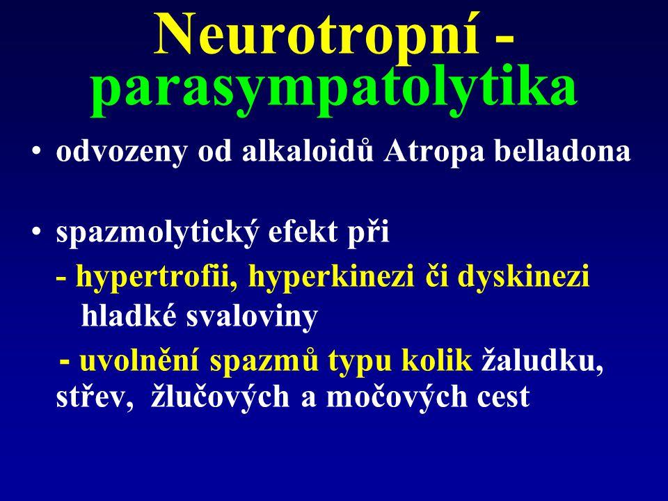Neurotropní - parasympatolytika