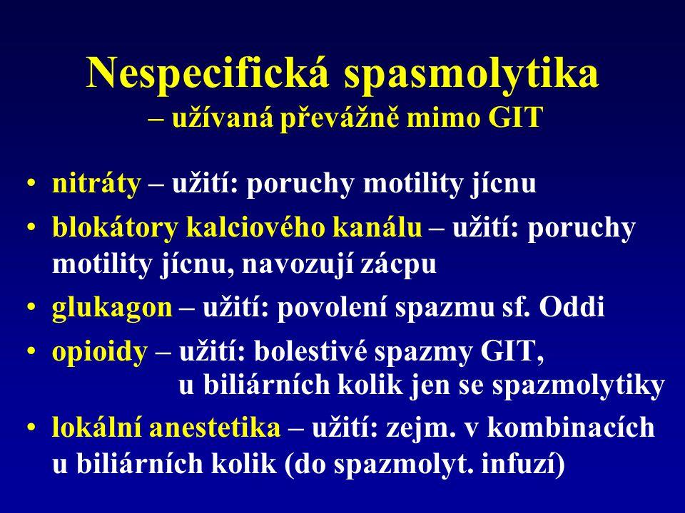 Nespecifická spasmolytika – užívaná převážně mimo GIT
