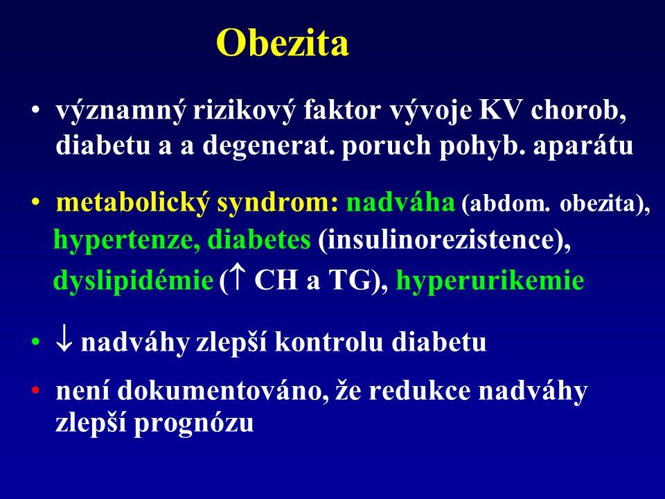 Obezita významný rizikový faktor vývoje KV chorob, diabetu a a degenerat. poruch pohyb. aparátu. metabolický syndrom: nadváha (abdom. obezita),