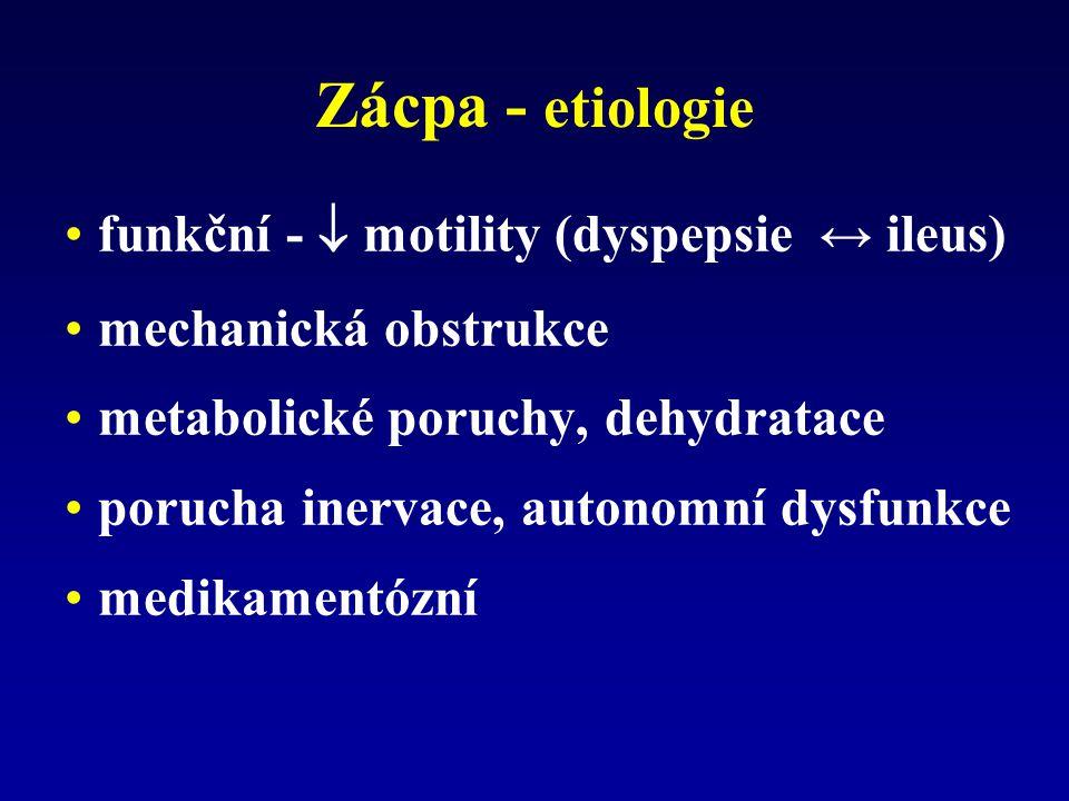 Zácpa - etiologie funkční -  motility (dyspepsie ↔ ileus)